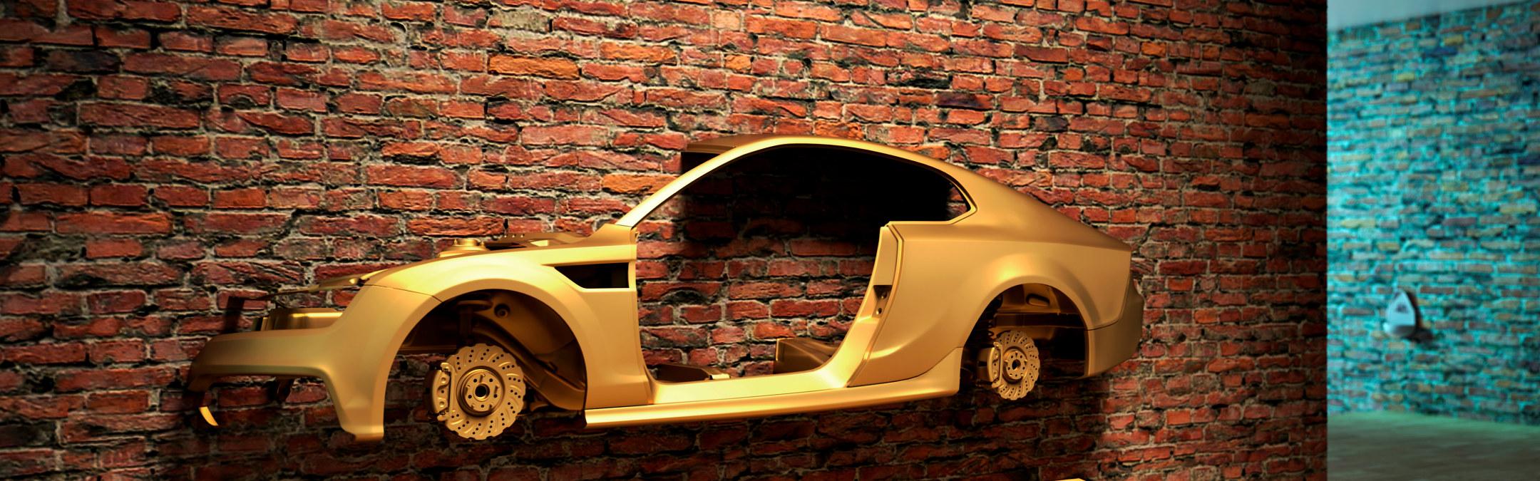 Bilde av gullfarget bilkarosseri på en vegg